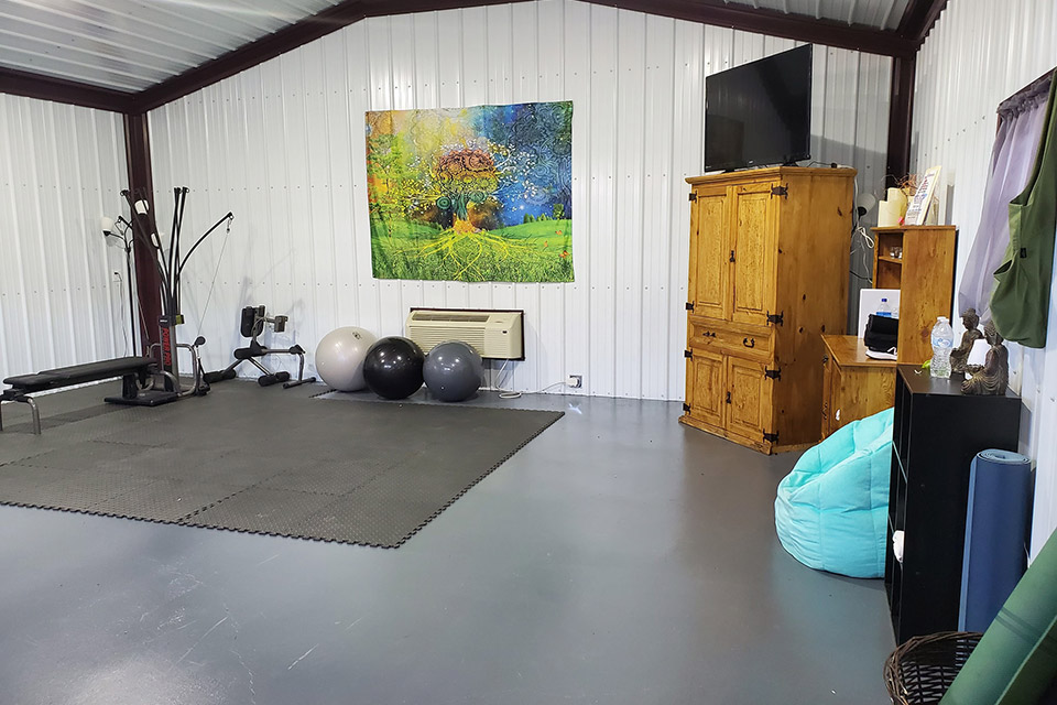Metal Garage Converted to Gym